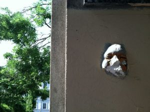 Face sculpture in Montmartre, Paris, France