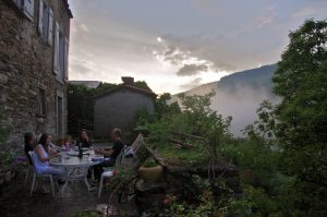 La Muse terrace after rainstorm, Labastide Esparbairenque