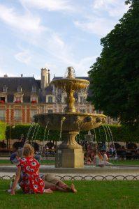 Fountain, Place des Vosges, Paris, France