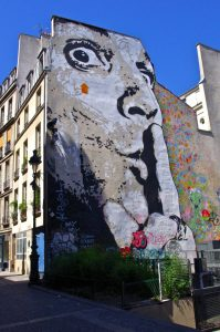Graffiti on a wall near Centre Pompidou, Paris, France