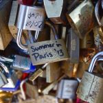 Locks of love on bridge, Paris, France