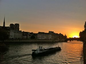 Tour boat on La Seine at sunset, Paris, France