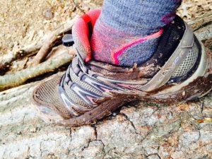 Muddy shoes, hike, PA