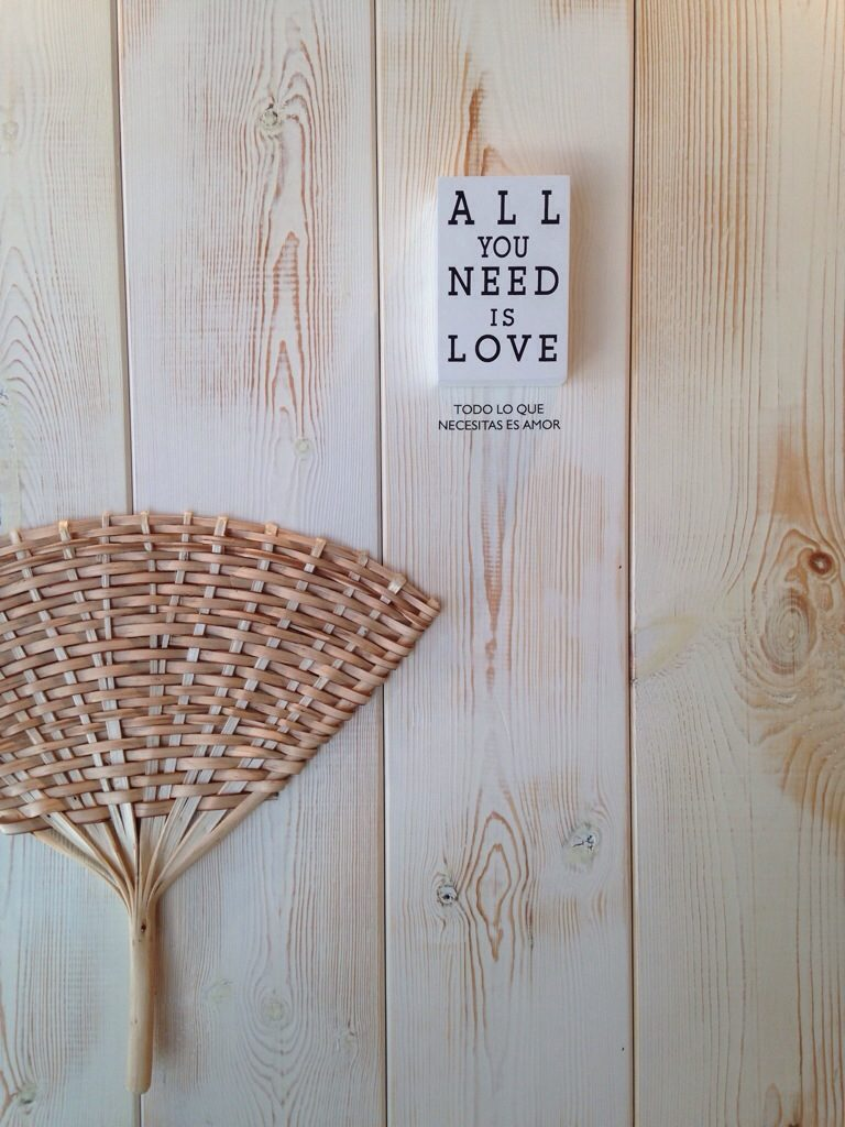 All You Need is Love sign in café, Santiago de Compostela, Camino de Santiago