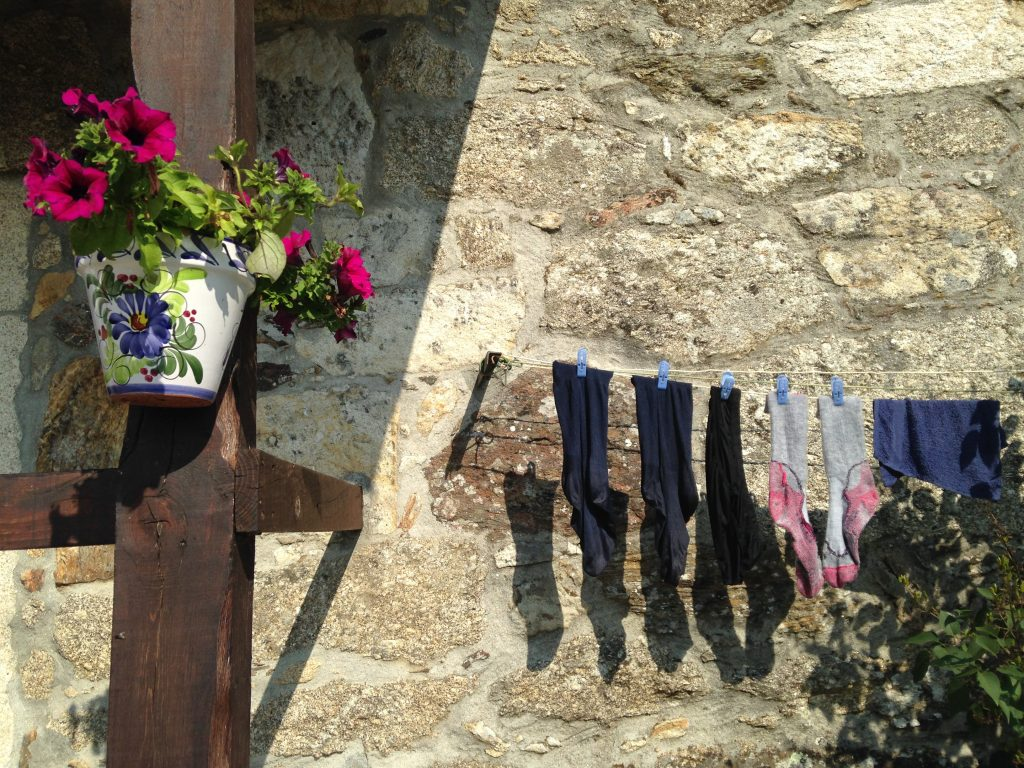 socks drying, camino de santiago