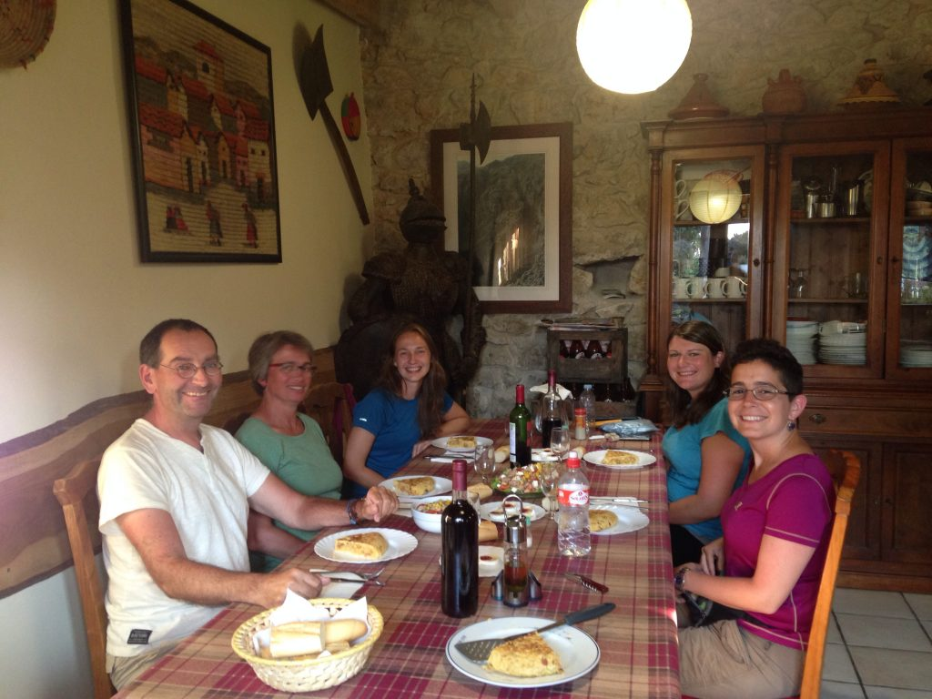 Communal meal on the Camino del Norte