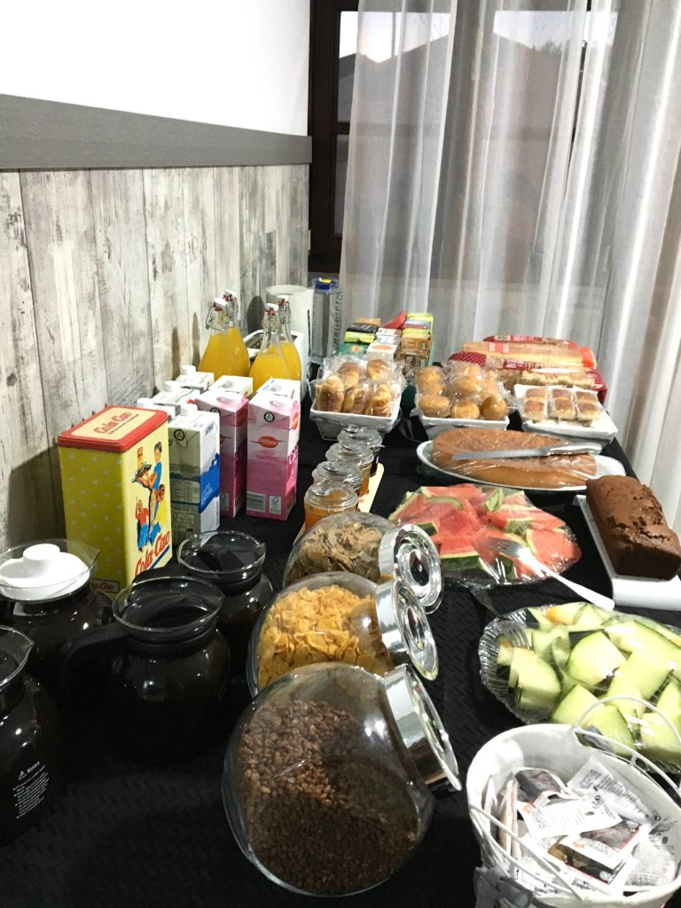 Breakfast spread at Albergue Piedad, Camino del Norte