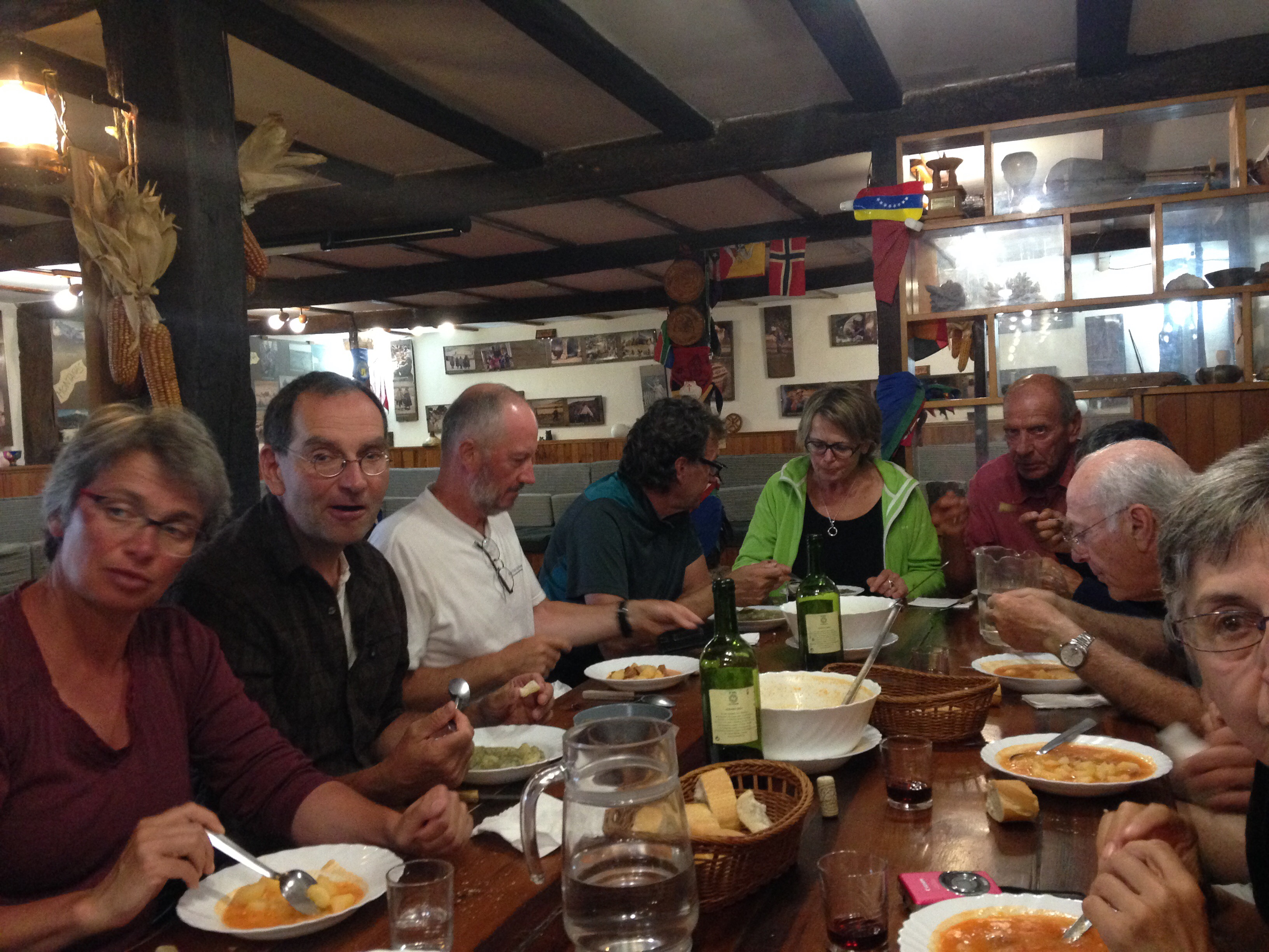Communal dinner on the Camino del Norte