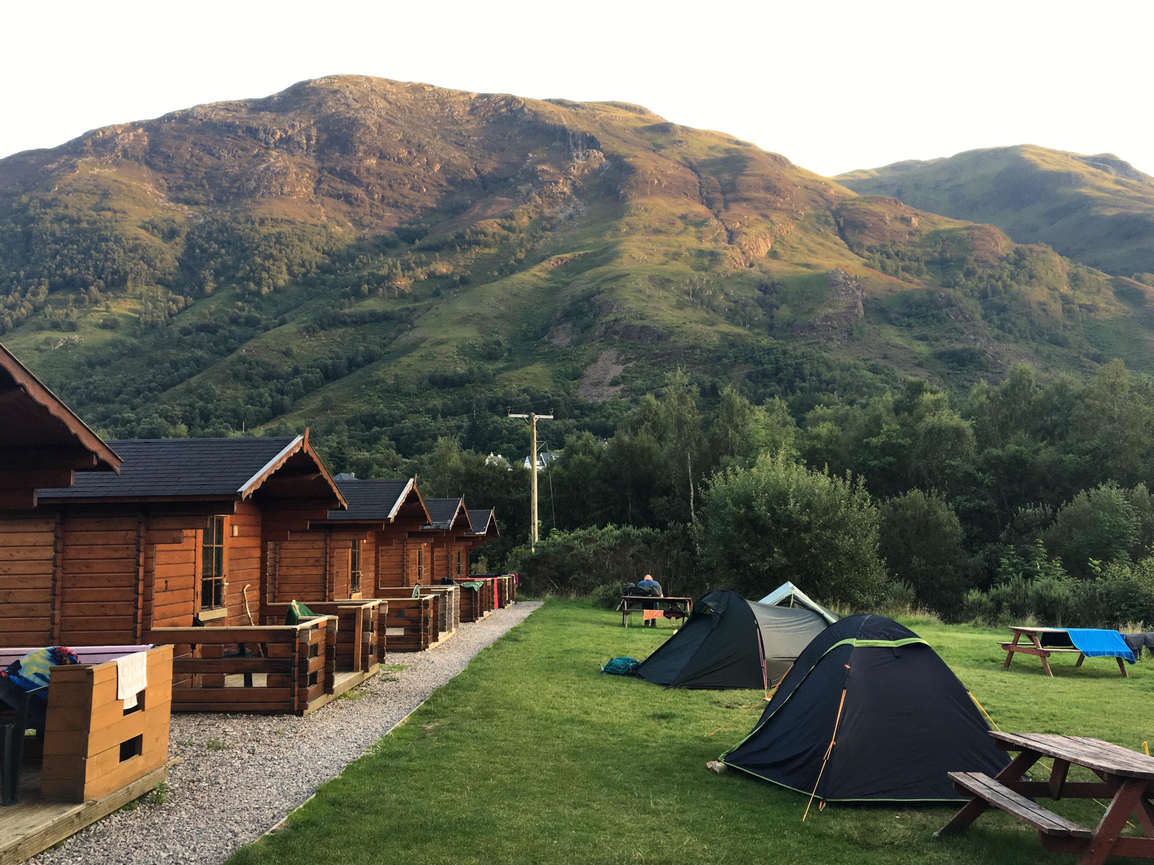 Campsite at MacDonald's Hotel and Cabins, Kinlochleven, Scotland
