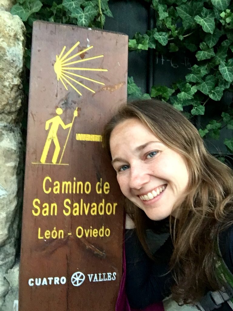 Nadine at start of Camino de San Salvador