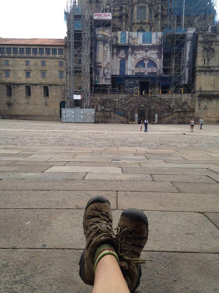 Empty square in Santiago, Spain