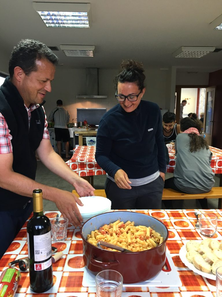 Communal meal on the Camino, Miraz, Camino del Norte