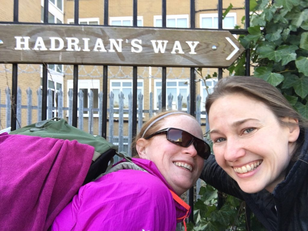 Starting off on Hadrian's Wall Way, Wallsend, England