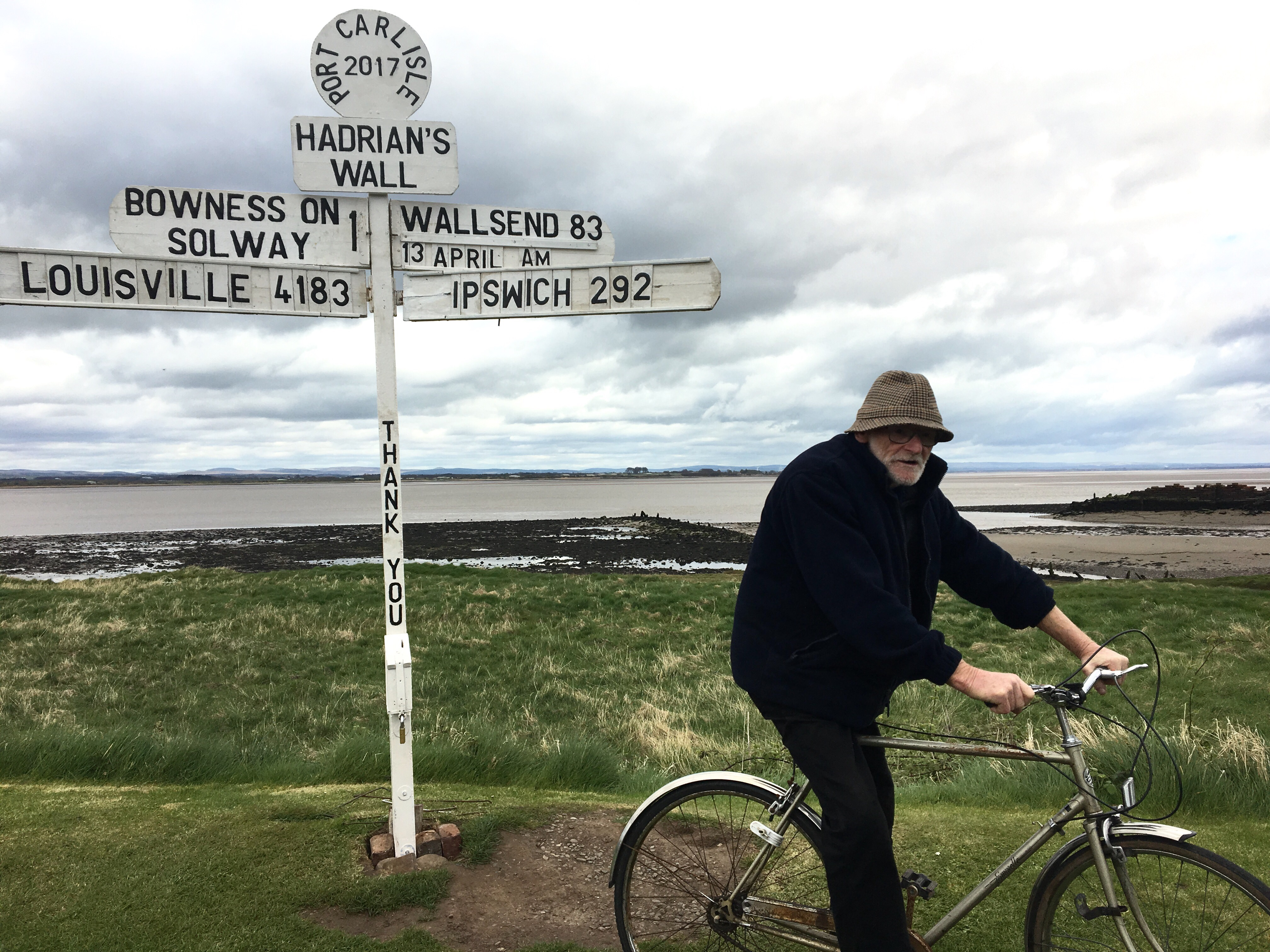 Roger and his signpost, Hadrian's Wall