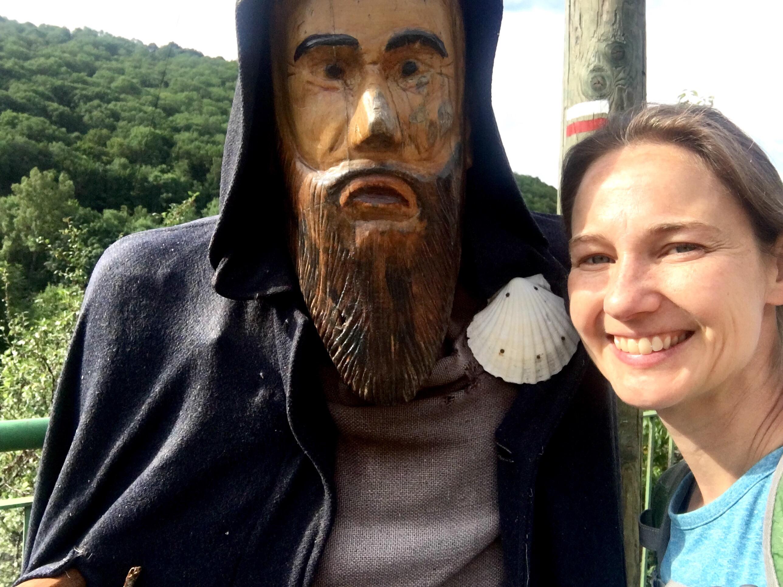 Selfie with pilgrim statue; Chemin du Puy
