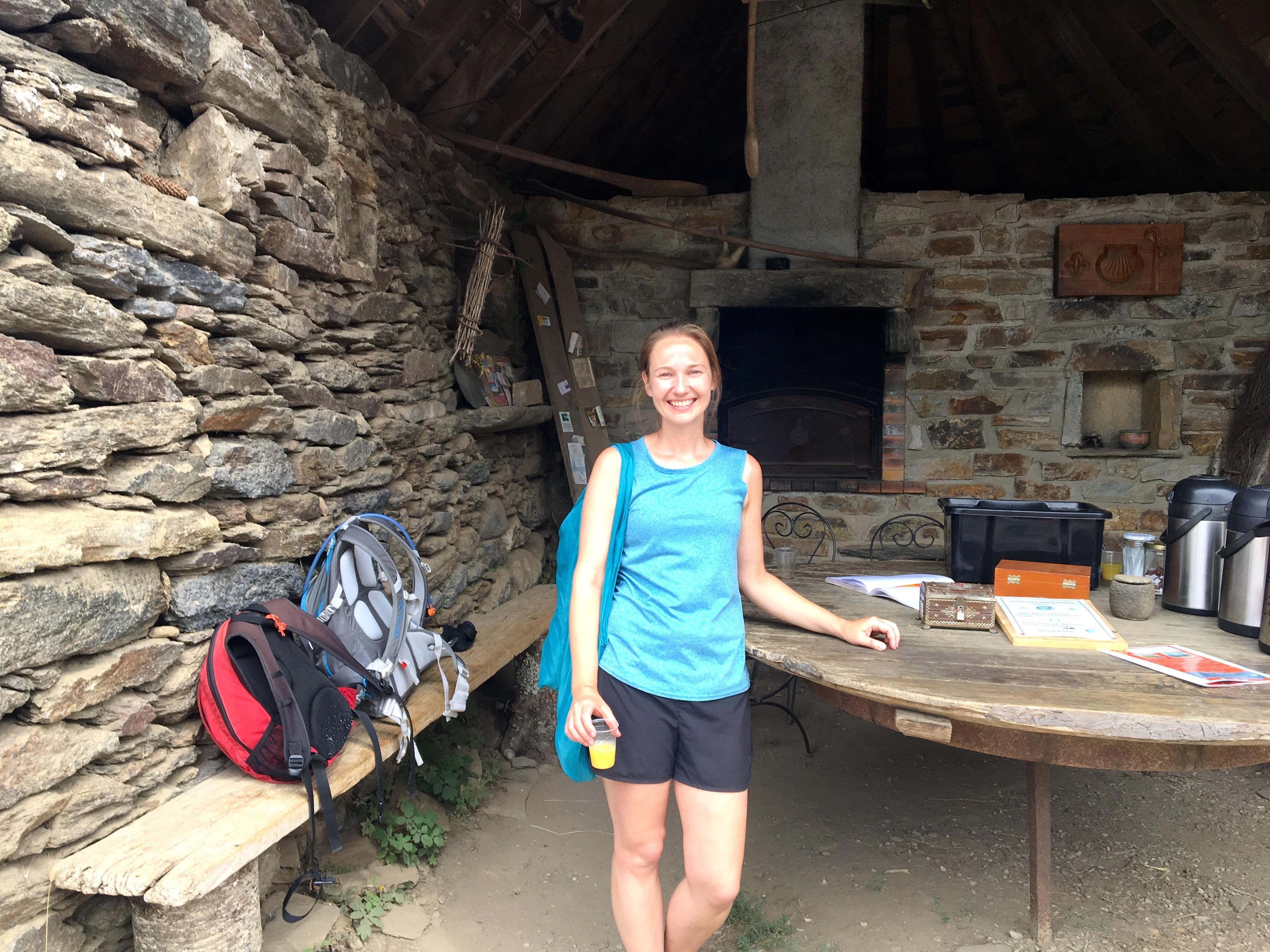 Me in a pilgrim shelter; Chemin du Puy