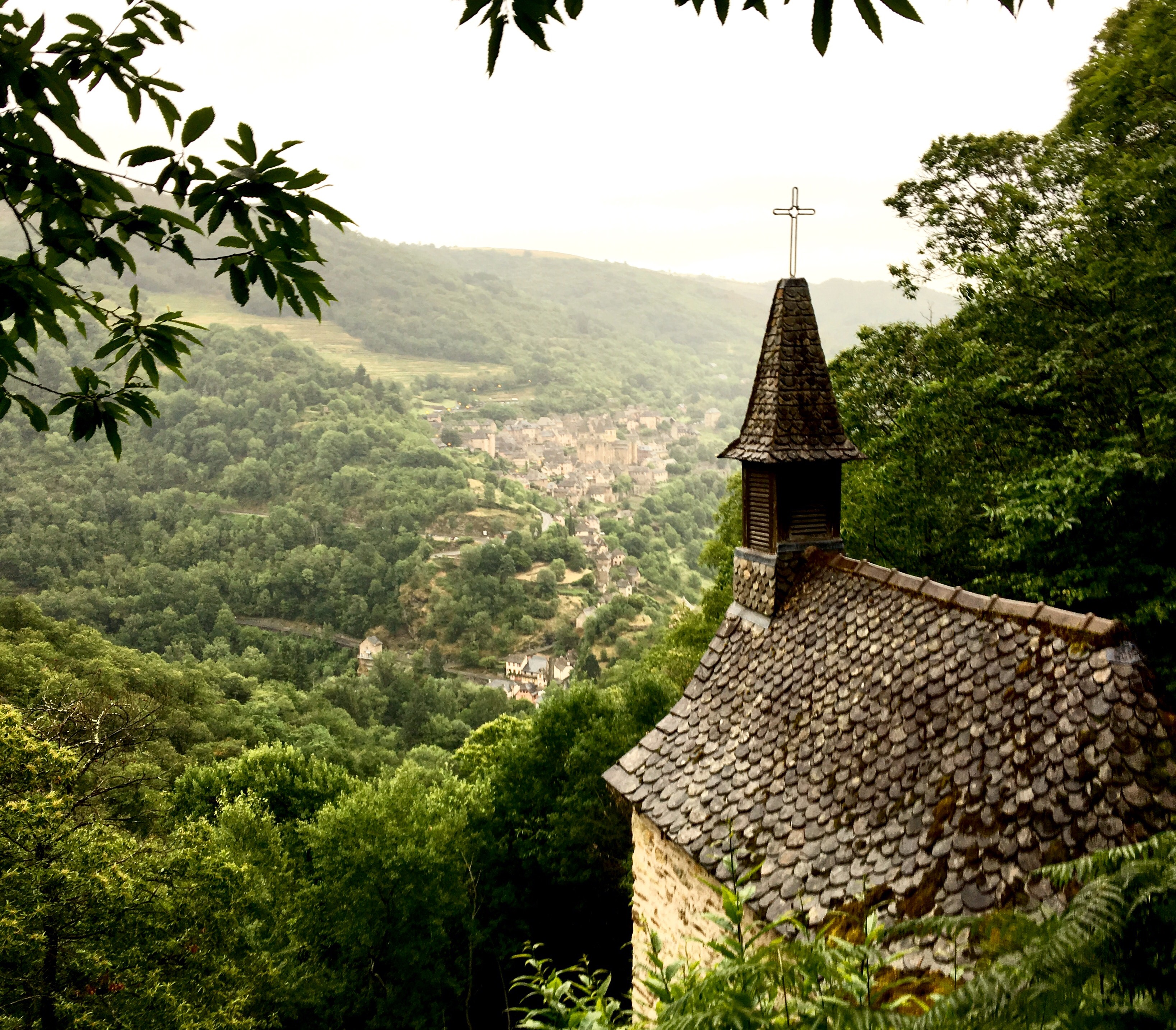 Looking back on Conques, Chemin du Puy