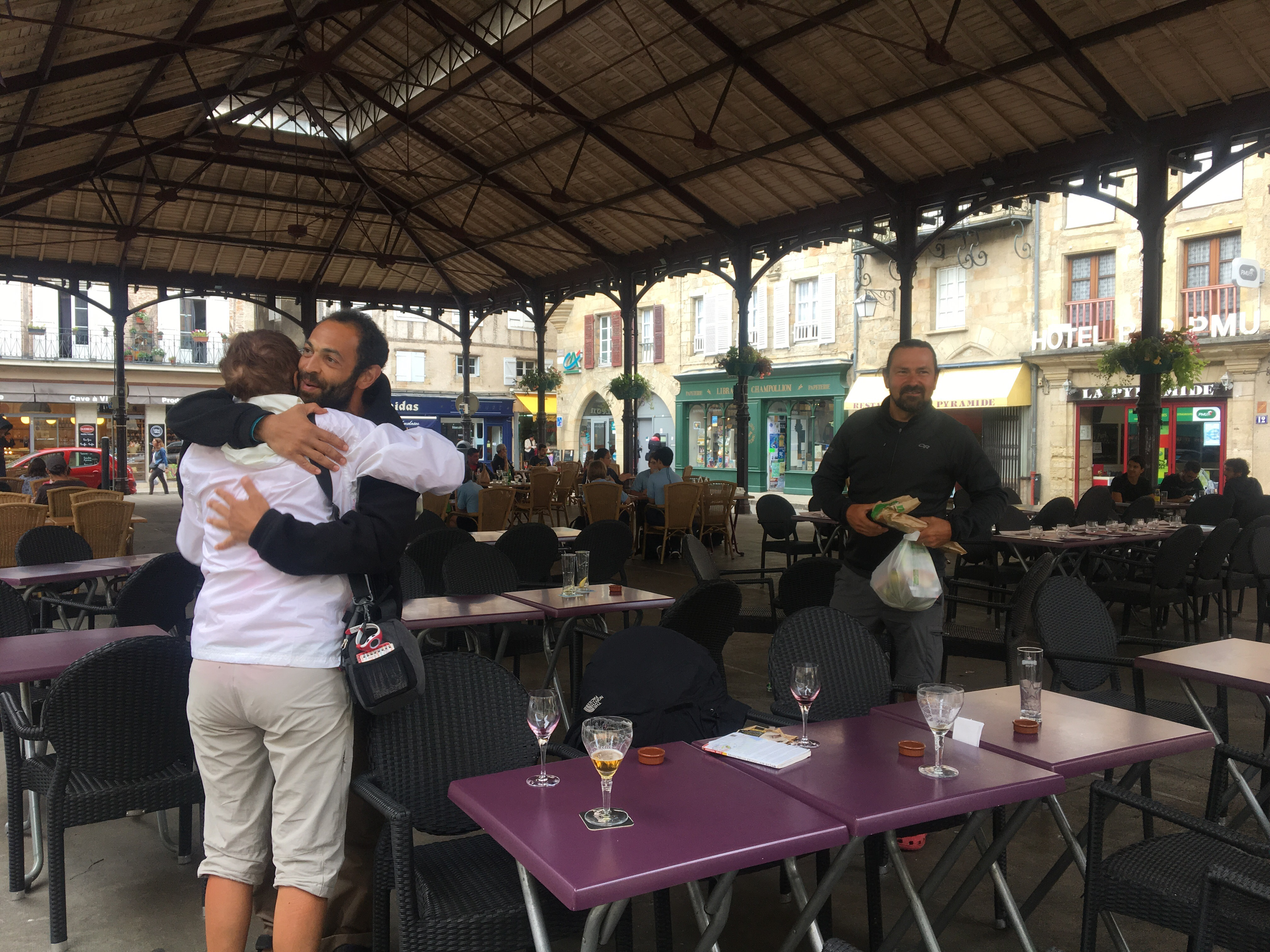 saying goodbye to friends in Figeac
