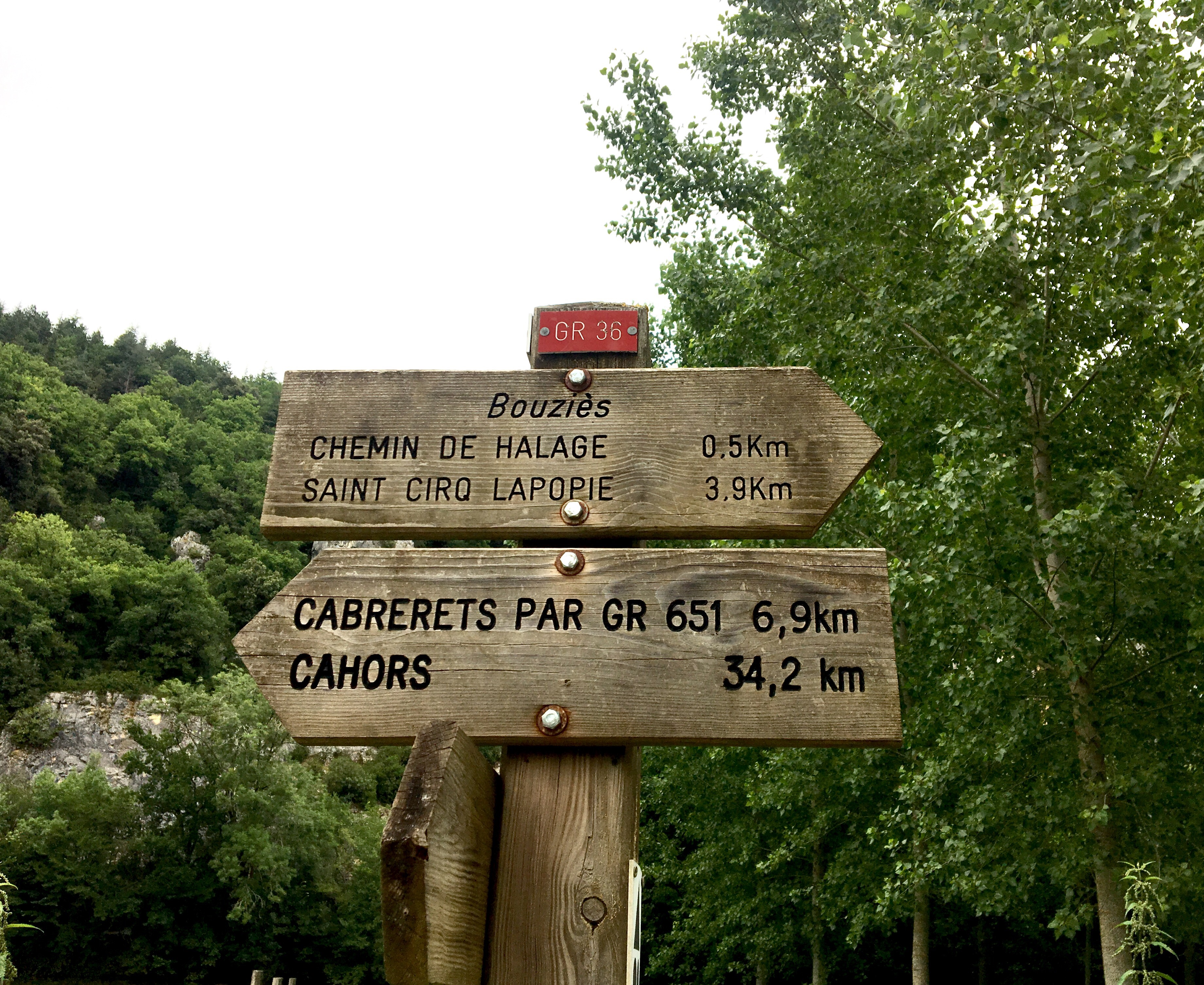 Sign on the GR36, Chemin du Puy