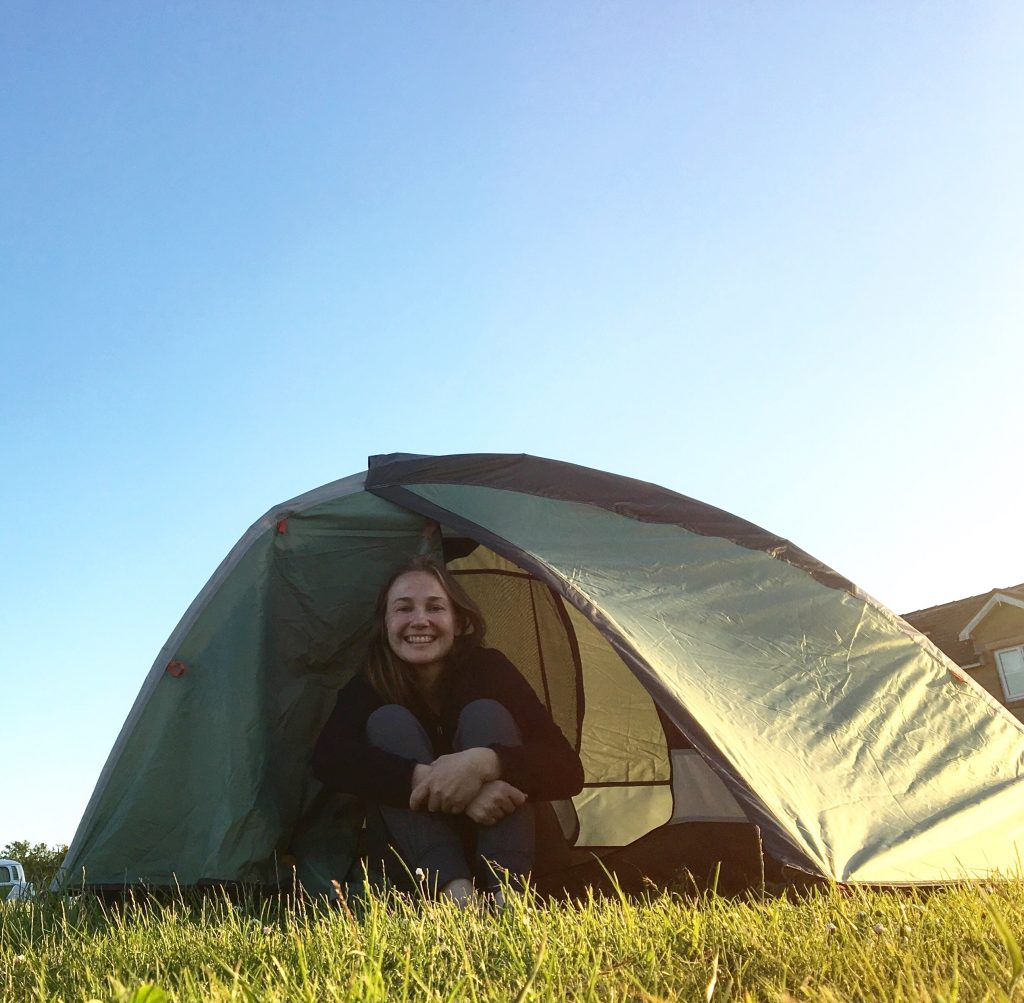 All smiles in my tent; Pennine Way