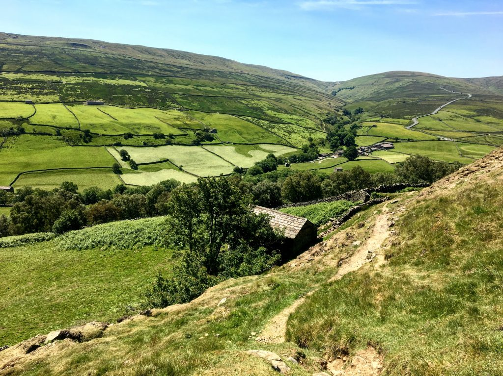 Looking down towards Thwaite on the Pennine Way