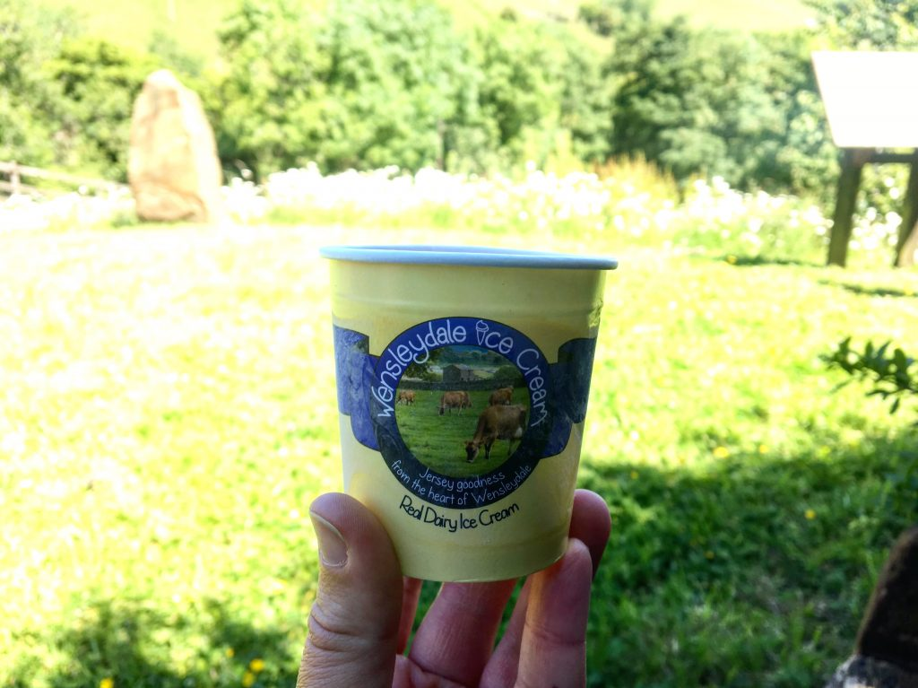 Enjoying a tub of Wensleydale ice cream on the Pennine Way