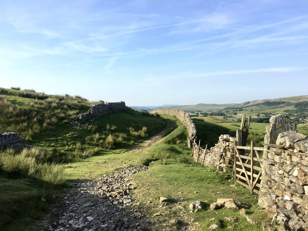 Winding path and stone wall, Pennine Way
