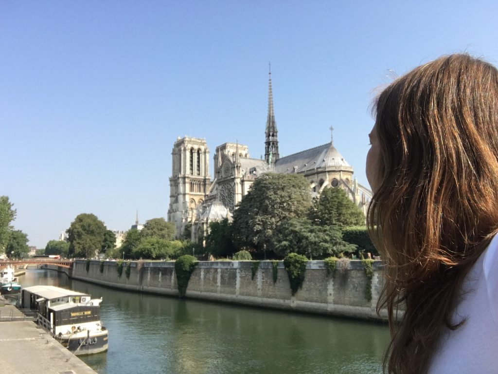 Nadine, looking at Notre-Dame, Paris, France