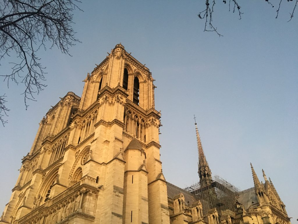 Notre-Dame in the setting sun, Paris, France