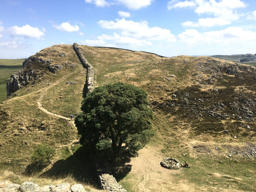 Looking down on Sycamore Gap from the west, Hadrian's Wall