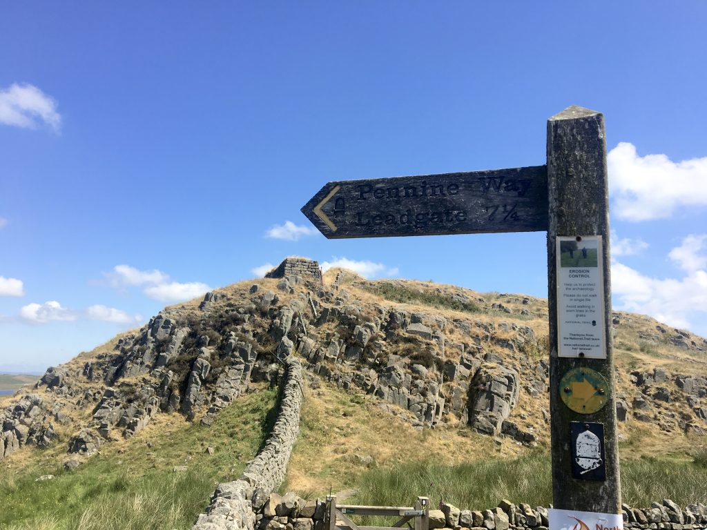Signpost for the Pennine Way on Hadrian's Wall