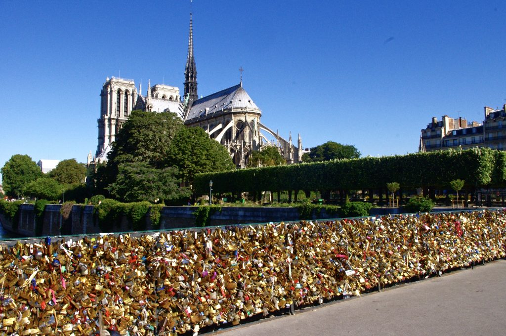 Notre-Dame and bridge of locks, Paris, France