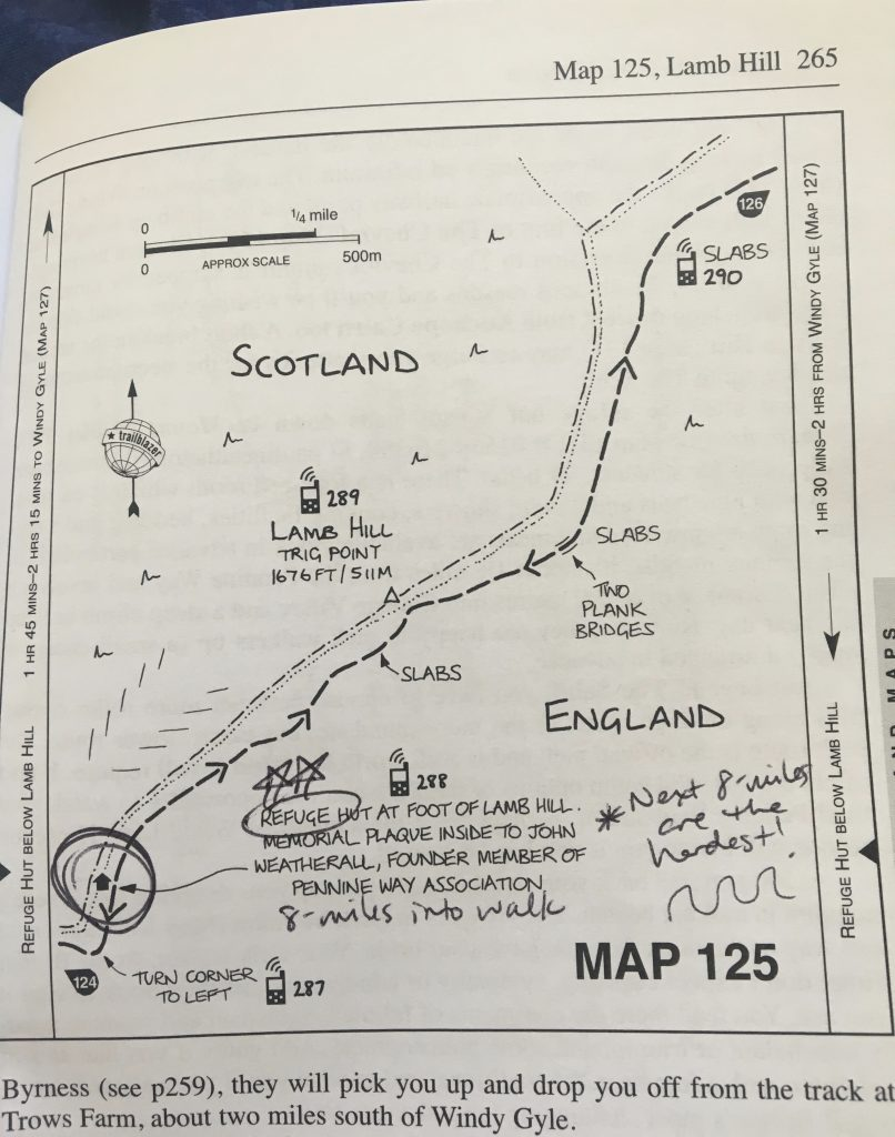 Page from Pennine Way guidebook
