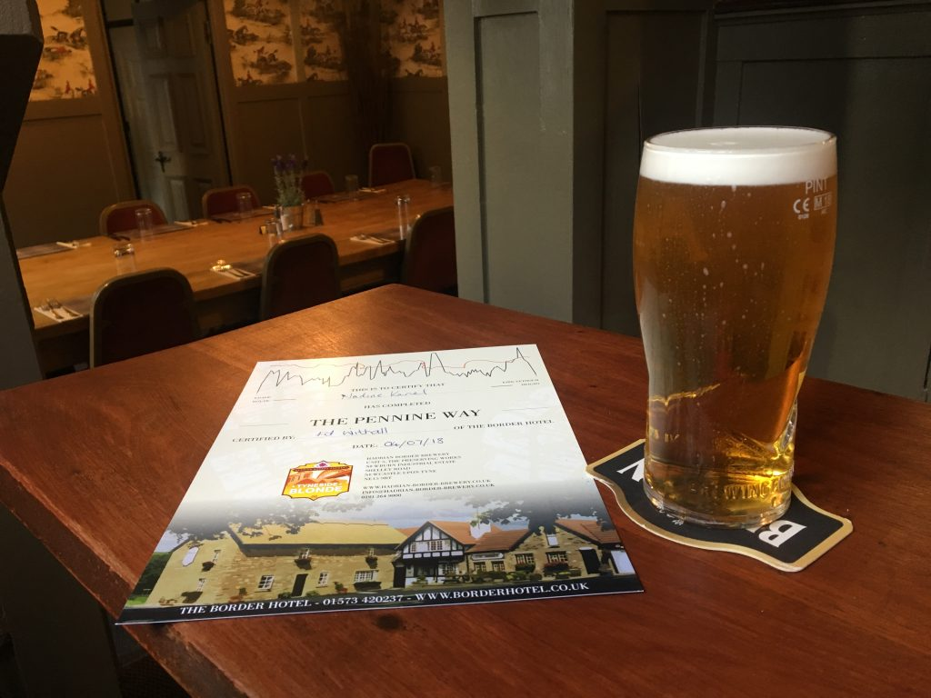 Free beer and Pennine Way certificate at the Border Hotel, Kirk Yetholm