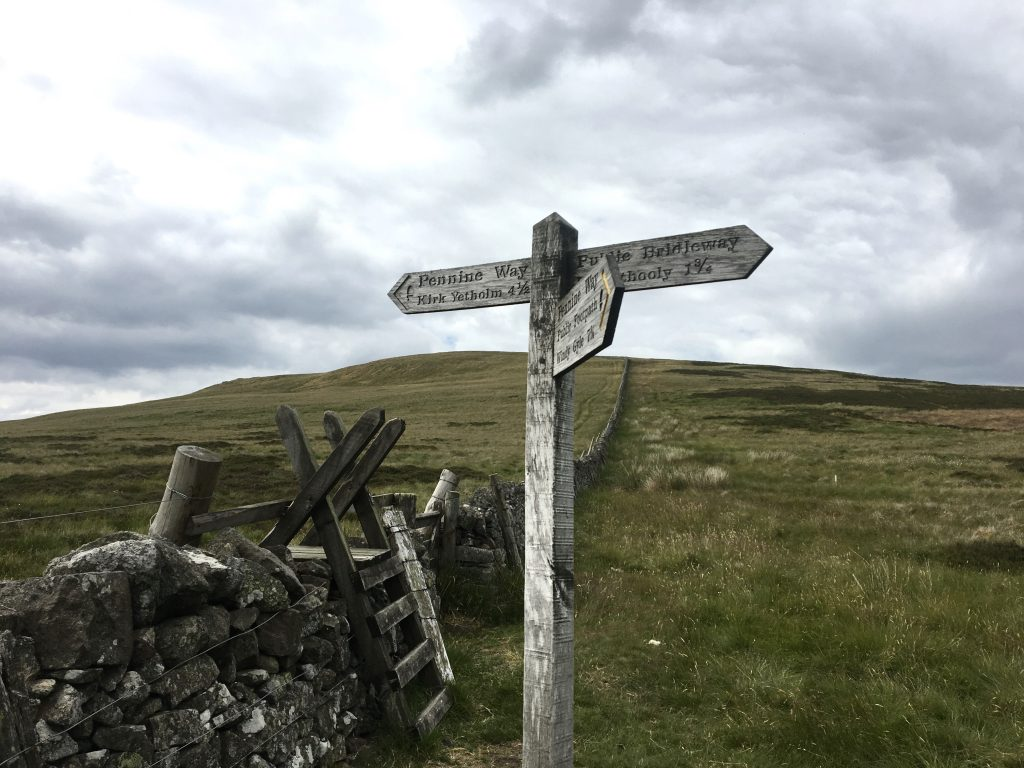 Kirk Yetholm signpost, Pennine Way