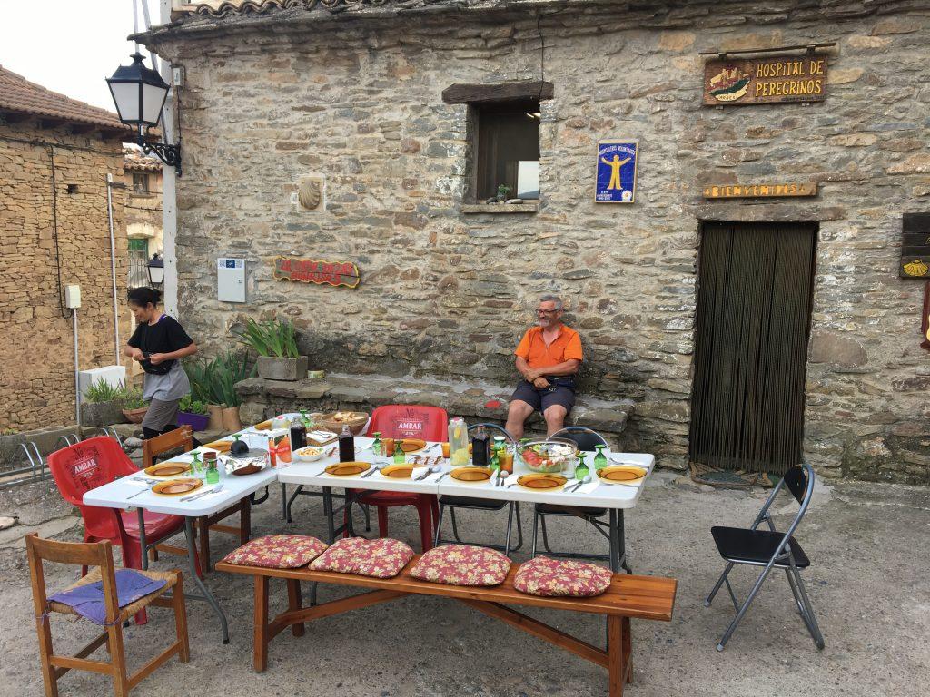 Communal dinner in Arres, Camino Aragones