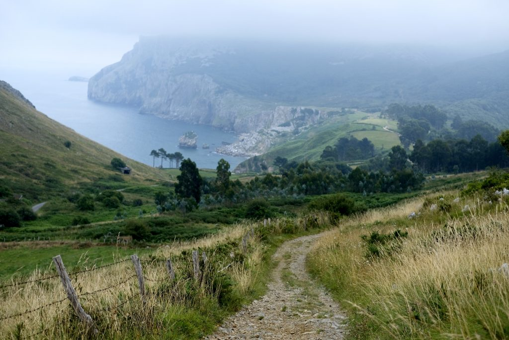 Coastal views on Camino del Norte, before descent to Laredo