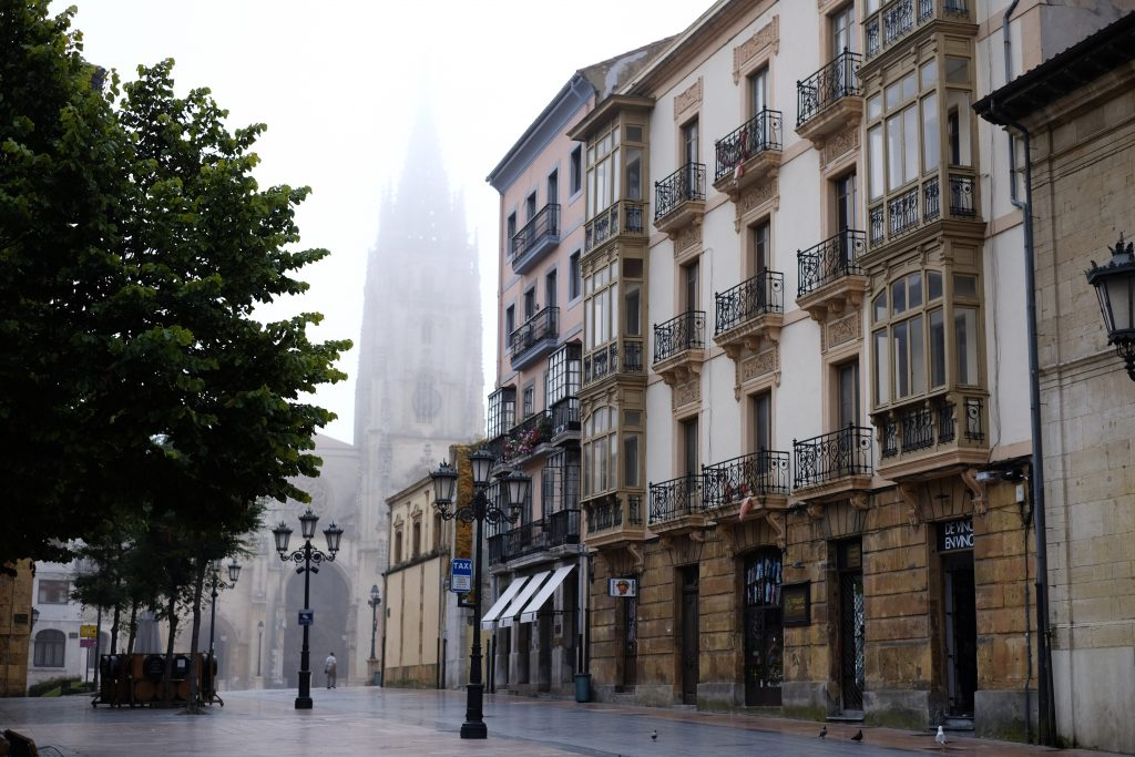 Oviedo cathedral in morning fog, Camino del Norte, Camino Primitivo