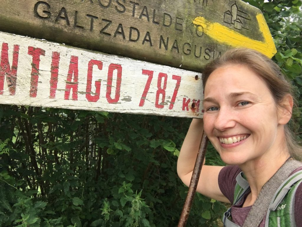 Beginning of the Camino del Norte; selfie with a sign to Santiago (787km)