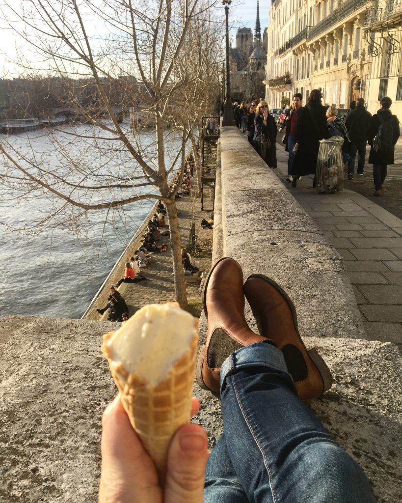 Ice cream in Paris, with a view of Notre Dame