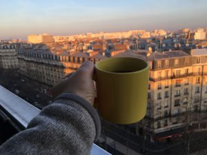 Coffee on balcony of Airbnb, Paris, 12th arrondissement
