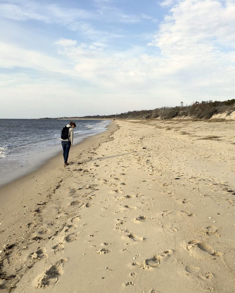 Walking along Higbee Beach, New Jersey, in winter