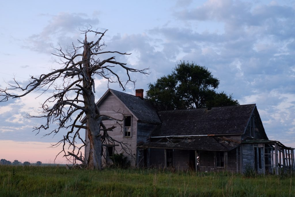 Abandoned building at sunrise, Kansas