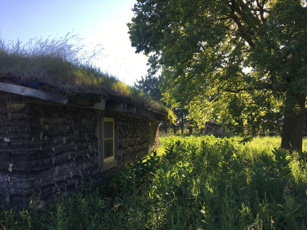 Sod house on the prairie, Minnesota