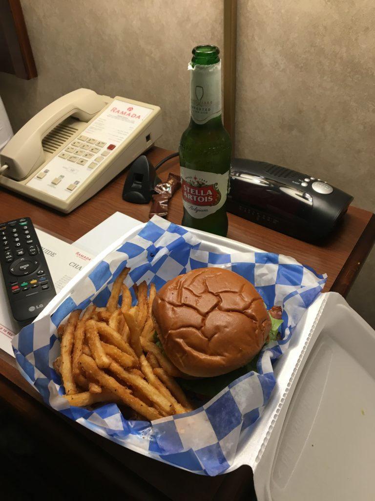 Burgers and beer in the hotel room