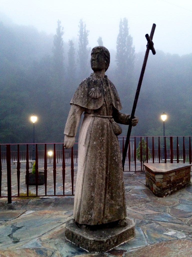 Introversion on the Camino; solo pilgrim statue, Camino Frances