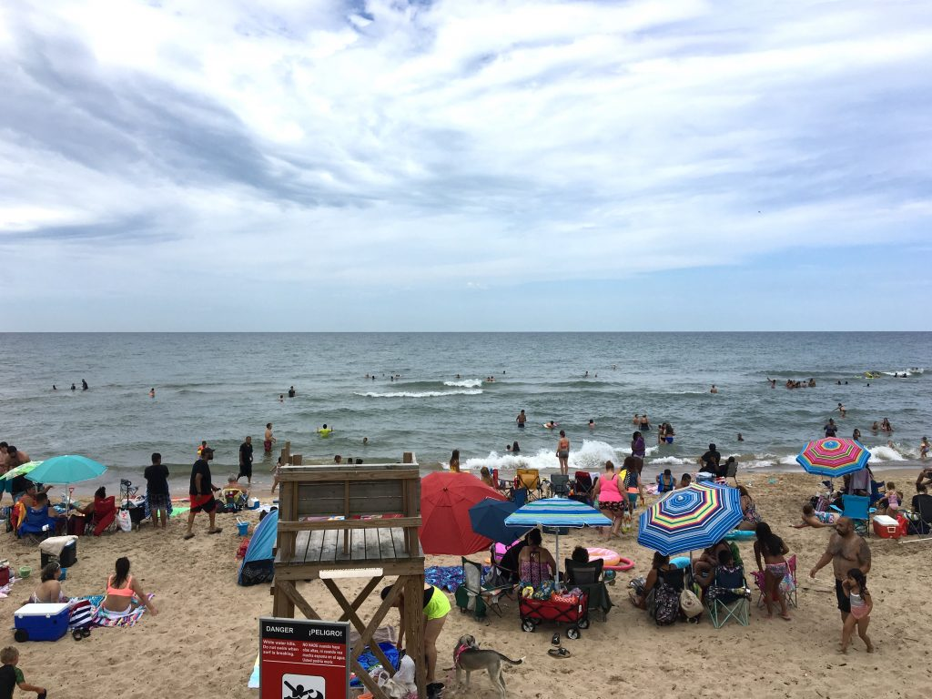 Indiana Dunes National Park, beach crowd, summer 2020