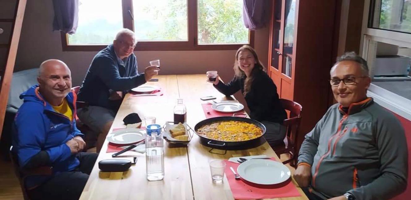 Group at communal dinner, Albergue de Samblismo, Camino Primitivo