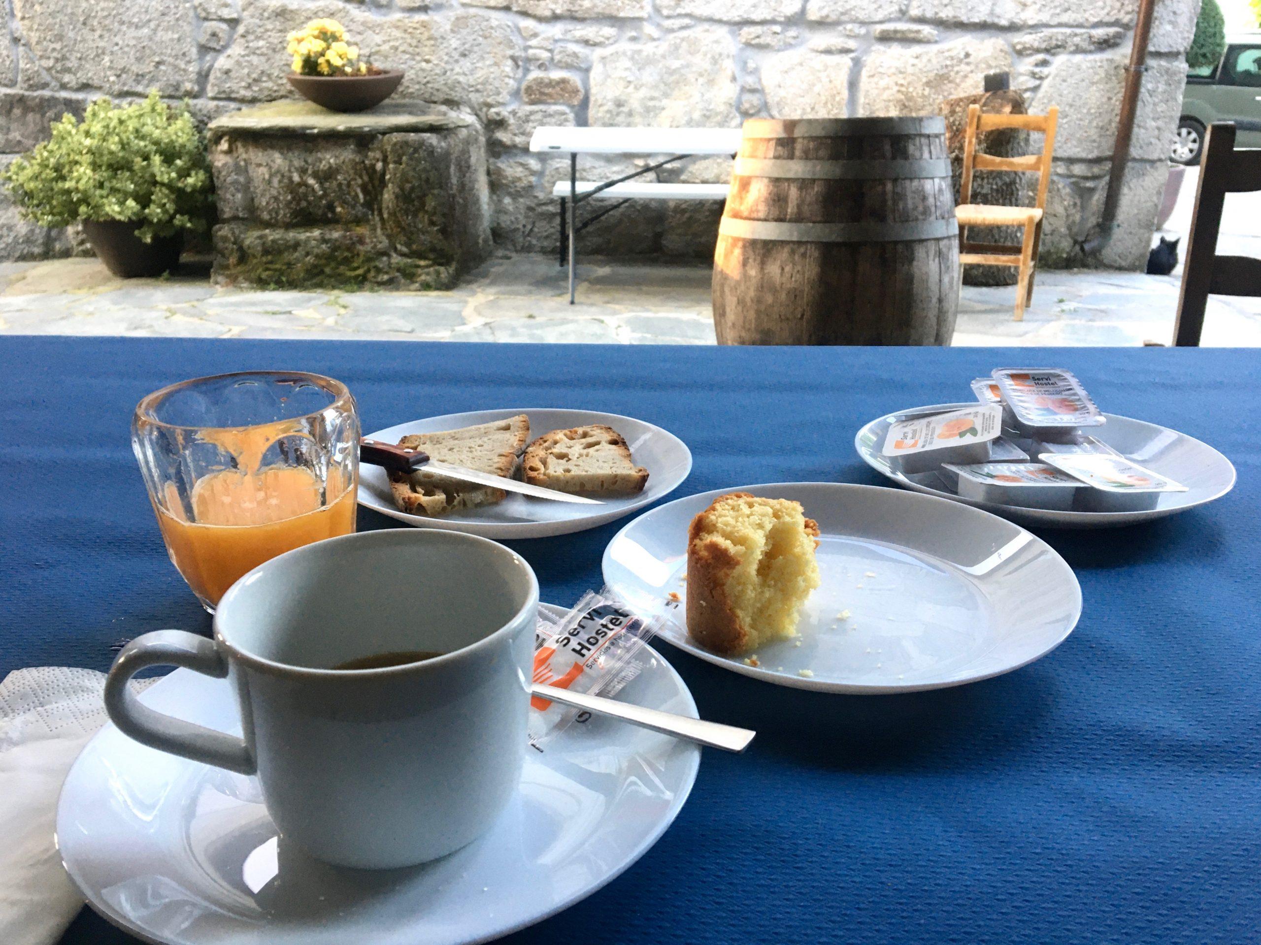 Breakfast in Vilar de Cas, Day 7 on the Camino Primitive