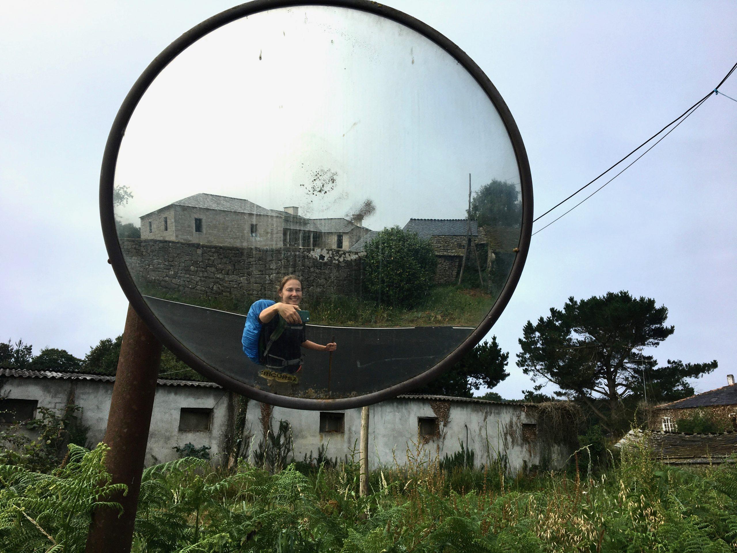 Selfie in mirror, Day 8 on the Camino Primitivo